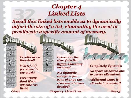 CS 240Chapter 4 - Linked ListsPage 5 Chapter 4 Linked Lists Recall that linked lists enable us to dynamically adjust the size of a list, eliminating the.