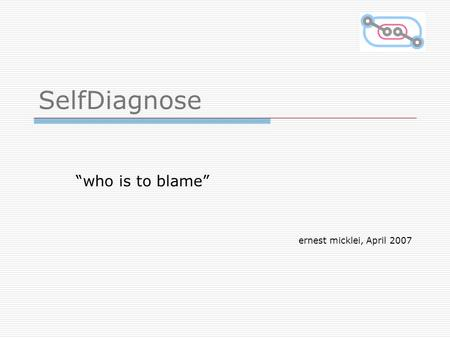 "SelfDiagnose ""who is to blame"" ernest micklei, April 2007."