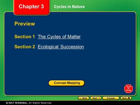 Preview Section 1 The Cycles of Matter Section 2 Ecological Succession