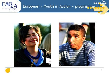 "1 European « Youth in Action » programme. 2 What about ""Youth in Action""? First part of the document (slides 3-24) = presentation: Introduction: objectives,"