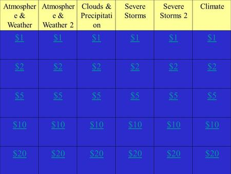 Atmospher e & Weather Atmospher e & Weather 2 Clouds & Precipitati on Severe Storms Severe Storms 2 Climate $1 $2 $5 $10 $20.