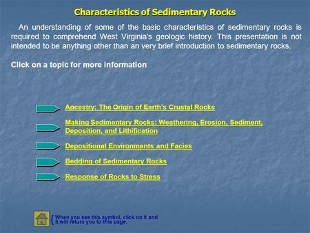 Characteristics of Sedimentary Rocks An understanding of some of the basic characteristics of sedimentary rocks is required to comprehend West Virginia's.