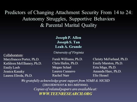Predictors of Changing Attachment Security From 14 to 24: Autonomy Struggles, Supportive Behaviors & Parental Marital Quality Joseph P. Allen Joseph S.