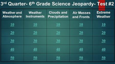 Weather and Atmosphere Weather Instruments Clouds and Precipitation Air Masses and Fronts Extreme Weather 10 20 30 40 50 3 rd Quarter- 6 th Grade Science.