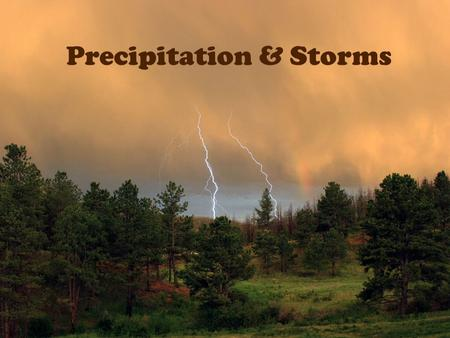 Precipitation & Storms. Target #24- I can identify the different types of precipitation Any moisture that falls from the air to earth's surface is called.