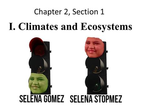 Chapter 2, Section 1 I. Climates and Ecosystems. A. Weather and Climate i.Weather a. The condition of the bottom layer of the earth's atmosphere in one.