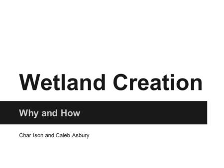 Wetland Creation Why and How Char Ison and Caleb Asbury.