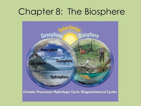 Chapter 8: The Biosphere