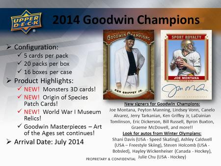2014 Goodwin Champions  Configuration: 5 cards per pack 20 packs per box 16 boxes per case  Product Highlights: NEW! Monsters 3D cards! NEW! Origin of.