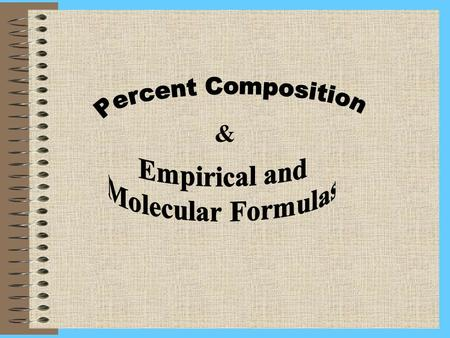 &. Percent Composition Indicates relative % of each element in a compound Total % of the components ~ 100%