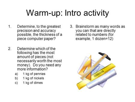 Warm-up: Intro activity