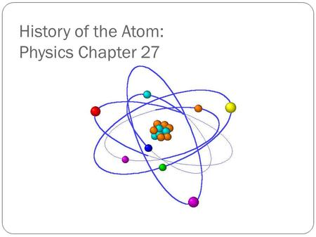 History of the Atom: Physics Chapter 27. Early work in Electricity and Magnetism Oersted: Current makes magnetic field Faraday/Henry: Magnetic fields.