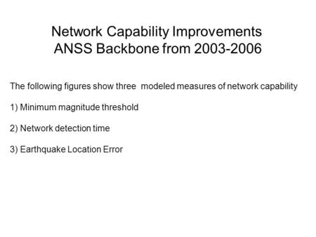 The following figures show three modeled measures of network capability 1) Minimum magnitude threshold 2) Network detection time 3) Earthquake Location.