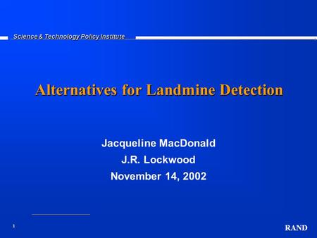 Alternatives for Landmine Detection