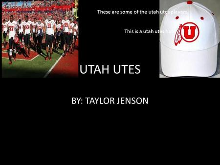 UTAH UTES BY: TAYLOR JENSON These are some of the utah utes players. This is a utah utes hat.