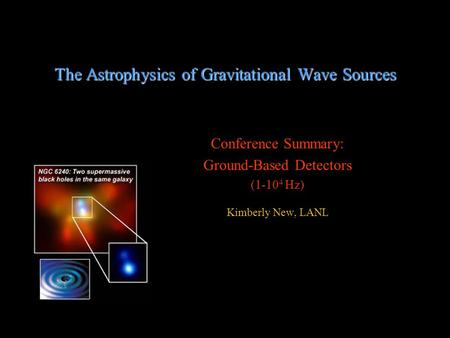 The Astrophysics of Gravitational Wave Sources Conference Summary: Ground-Based Detectors (1-10 4 Hz) Kimberly New, LANL.
