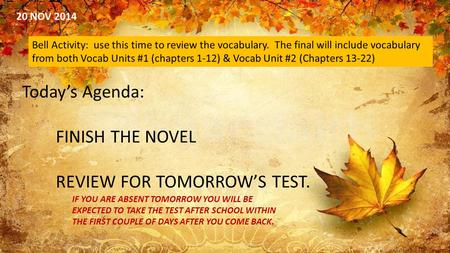 20 NOV 2014 Bell Activity: use this time to review the vocabulary. The final will include vocabulary from both Vocab Units #1 (chapters 1-12) & Vocab Unit.
