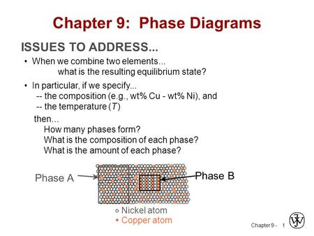 Chapter 9 - 1 ISSUES TO ADDRESS... When we combine two elements... what is the resulting equilibrium state? In particular, if we specify... -- the composition.