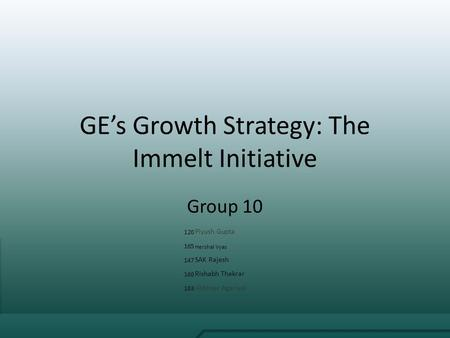 GE's Growth Strategy: The Immelt Initiative
