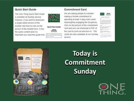 Today is Commitment Sunday