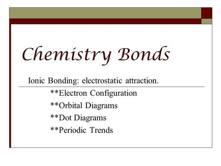 Chemistry Bonds Ionic Bonding: electrostatic attraction.