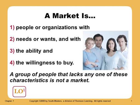 Chapter 7Copyright ©2008 by South-Western, a division of Thomson Learning. All rights reserved 1 LO 1 A Market Is... 1) people or organizations with 2)