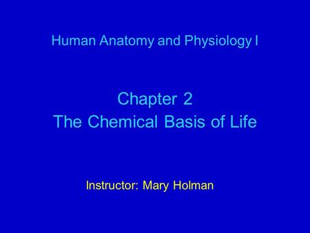 Human Anatomy and Physiology I Chapter 2 The Chemical Basis of Life Instructor: Mary Holman.