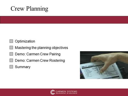 Crew Planning Optimization Mastering the planning objectives