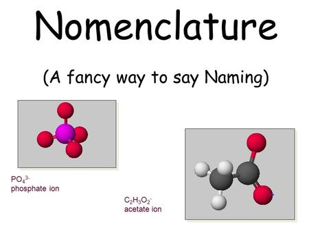 Nomenclature (A fancy way to say Naming) PO 4 3- phosphate ion C 2 H 3 O 2 - acetate ion.