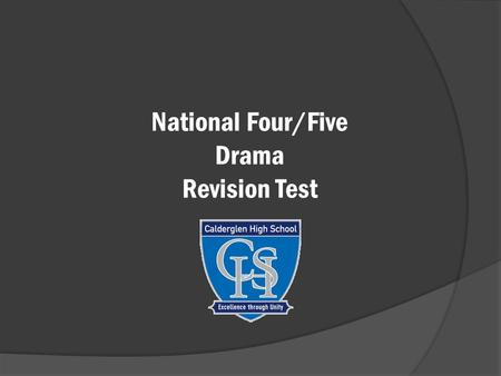 National Four/Five Drama Revision Test. What is this type of staging called?