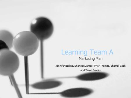 Learning Team A Marketing Plan Jennifer Bodine, Shannon James, Tyler Thomas. Sherrell Cook and Teron Brooks.