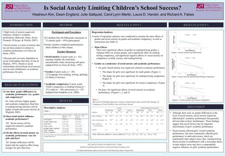 High levels of anxiety negatively influence children's academic performance (Mazzone, Ducci, Scoto, Passaniti, D'Arrigo, & Vitiello, 2007). Social anxiety.