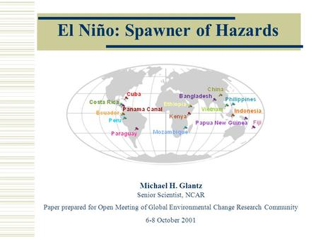 el nino research paper This issue has been shown by regression indexes in a number of papers  el niño also triggered an explosion in research interest of marine and geophysics.