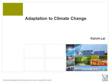 Delivering sustainable solutions in a more competitive world Kalvin Lai Adaptation to Climate Change.