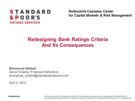 Redesigning Bank Ratings Criteria