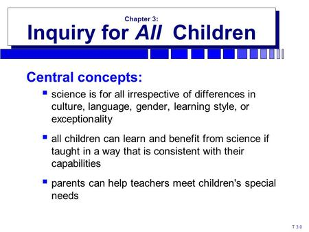 T 3.0 Chapter 3: Inquiry for All Children Chapter 3: Inquiry for All Children Central concepts:  science is for all irrespective of differences in culture,