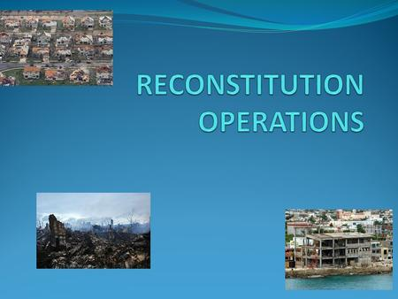AGENDA DEFINE RECONSTITUTION IDENTIFY THE IMPORTANCE OF RECONSTITUTION REFERENCES REQUIREMENTS.