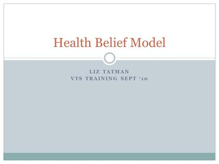 LIZ TATMAN VTS TRAINING SEPT '10 Health Belief Model.