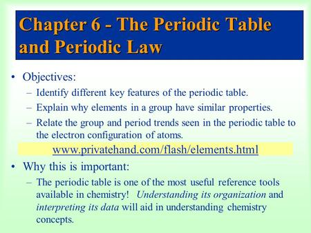 Chapter 6 - The Periodic Table and Periodic Law