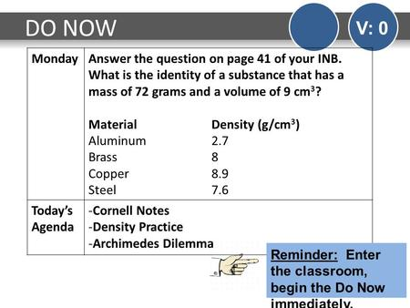 DO NOW V: 0 Monday Answer the question on page 41 of your INB. What is the identity of a substance that has a mass of 72 grams and a volume of 9 cm3? Material		Density.