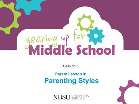 Session 3 Parent Lesson 8: Parenting Styles. Objectives Participants will: Explore four common parenting styles Identify your parenting style Gain skills.