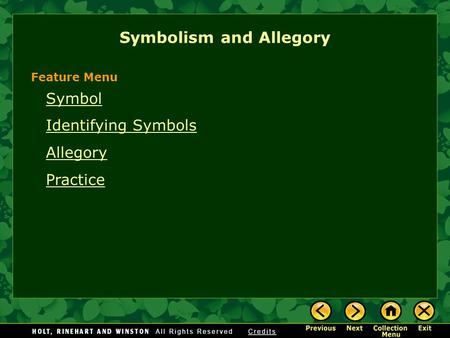 Symbol Identifying Symbols Allegory Practice Symbolism and Allegory Feature Menu.