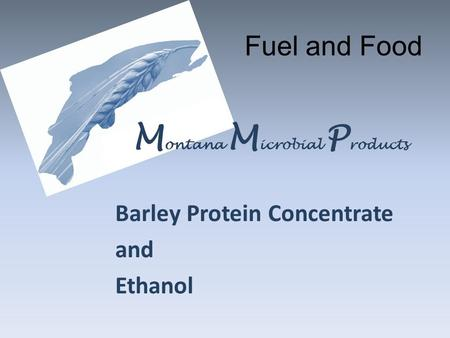 Barley Protein Concentrate and Ethanol M ontana M icrobial P roducts Fuel and Food.