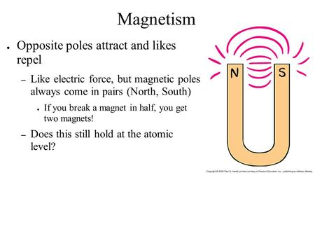 Magnetism Opposite poles attract and likes repel