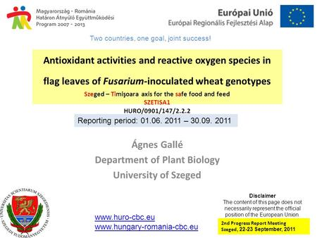 Antioxidant activities and reactive oxygen species in flag leaves of Fusarium-inoculated wheat genotypes Szeged – Timişoara axis for the safe food and.