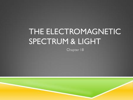 THE ELECTROMAGNETIC SPECTRUM & LIGHT Chapter 18.  What types of waves are electromagnetic waves?