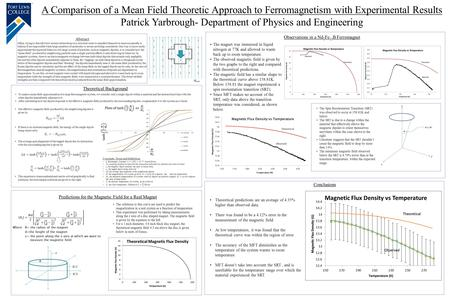 A Comparison of a Mean Field Theoretic Approach to Ferromagnetism with Experimental Results Patrick Yarbrough- Department of Physics and Engineering The.