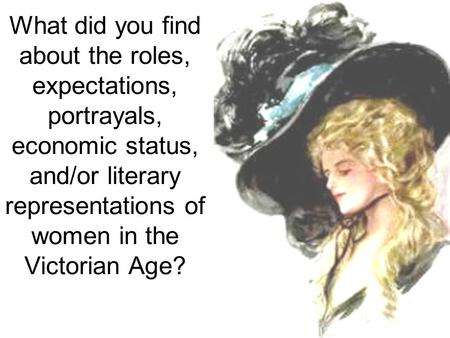 What did you find about the roles, expectations, portrayals, economic status, and/or literary representations of women in the Victorian Age?