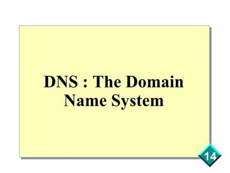 14 DNS : The Domain Name System. 14 Introduction - Problem Computers are used to work with numbers Humans are used to work with names ==> IP addresses.
