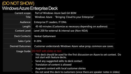 "Windows Azure - ""Bringing Cloud to your Enterprise""Title: Part of Windows Azure IaaS GA BOMCurrent scope: Length:45-60 minutes (Customize as necessary."
